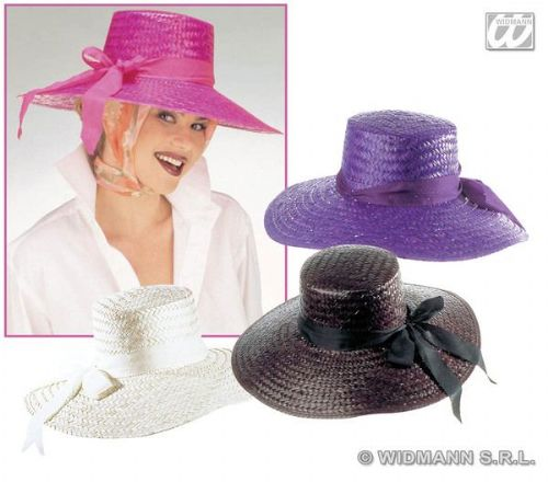 Ladies 20s Mayfair Lady Straw Hat 4 Colss Disposable Gangster Mob 20s 30s Party